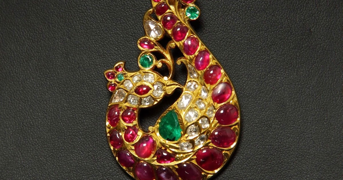 Peacock Design Saree Brooch And Pendant