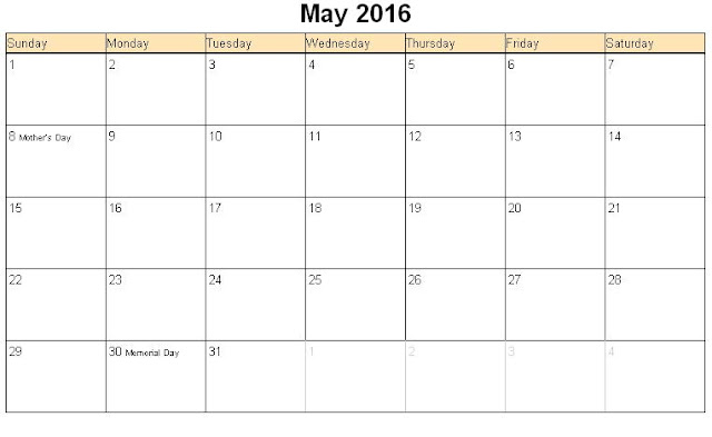 May 2016 Calendar with Holidays[USA, UK, Canada]