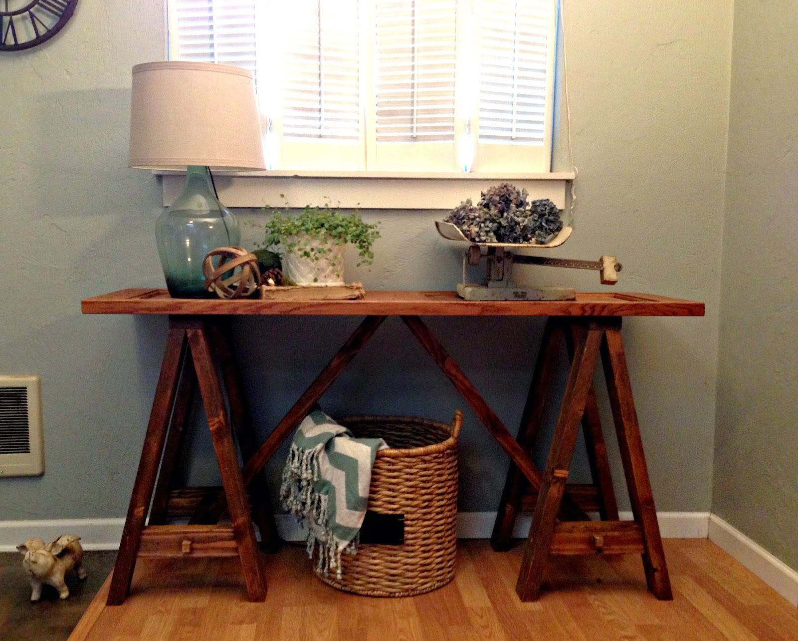 DIY Saw Horse Console Table