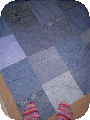 ProsperityStuff Denim Jeans Quilt - and knitted socks