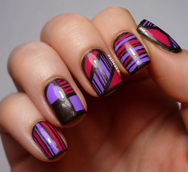 Nail art in various bold geometric designs with stripes, using Illamasqua Jo'Mina, Barry M Shocking Pink & 17 Smokey Marble
