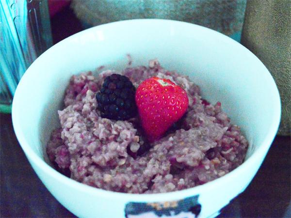 porridge with strawberries, raspberries and blackberries