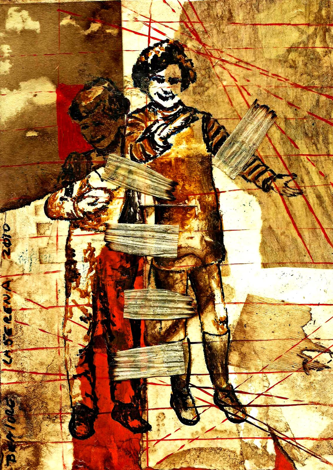 Beatriz Loreto Pineda: Dibujo - collage s/ papel intervenido