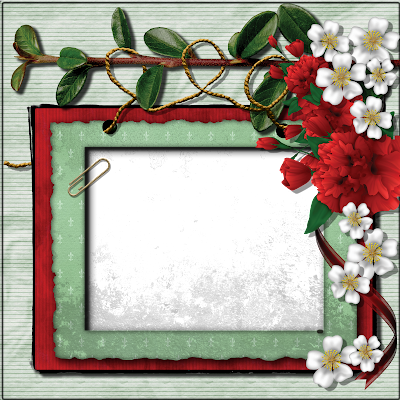 scrapbooking quick page red green free digital download