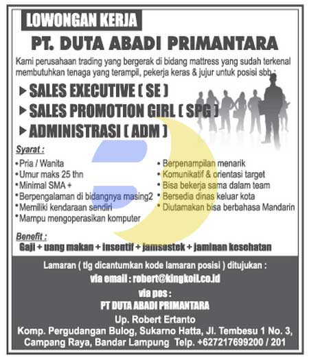 Karir Kerja Lampung PT. Duta Abadi Primantara