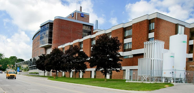 Orillia Soldier's Memorial Hospital showing the completed Community Tower and the outdoor 3rd floor patio