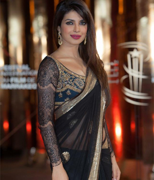Priyanka Chopra Black Saree Bollywood Saree