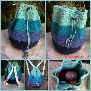 Tas Ransel, tas rajut, tas gendong, crochet bag, crochet ransel bag