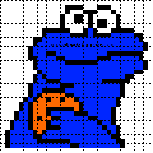 Minecraft Pixel Art Templates Cookie Monster – Minecraft Pixel Art Template