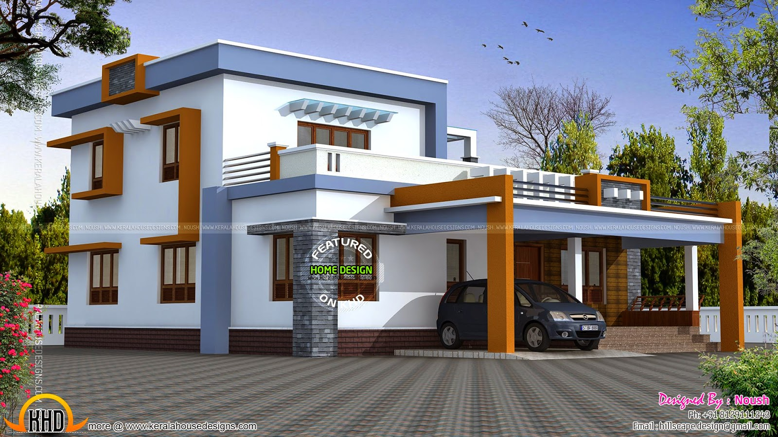 Box type house exterior elevation kerala home design and for Flat roof elevation