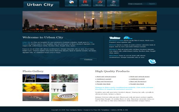 CSS City Blue White Website Template