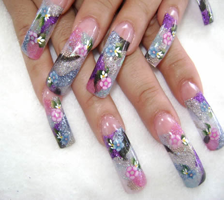 long nails floral designs fantastic shape nails super style nails blue ...