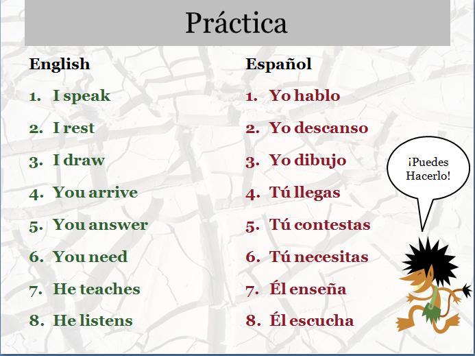 Spanish Ar Verbs Free spanish present tense -ar