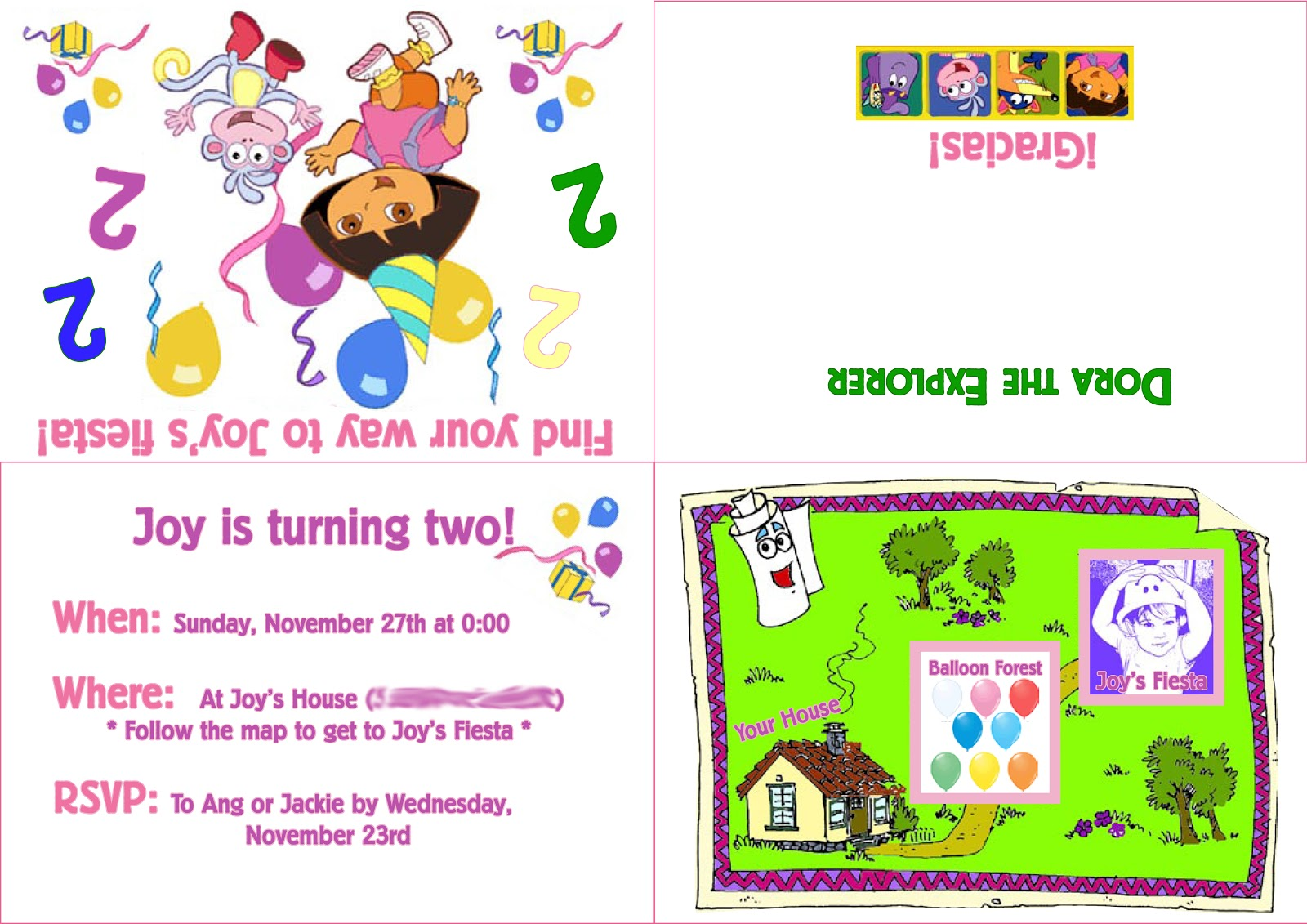 Dora the Explorer – Printable Dora Birthday Invitations