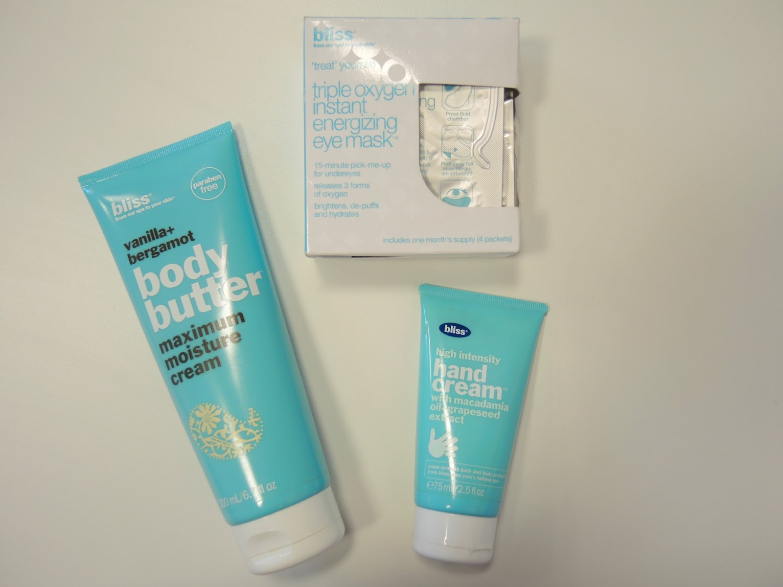 Bliss Haul, Vanilla & Bergamot Body Butter, High Intensity Hand Cream, Triple Oxygen Instant Energizing Eye Mask