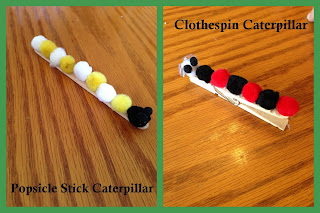 Caterpillar Crafts: Popsicle stick caterpillar and clothespin caterpillar