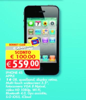 Offerta con sconto di 100 euro su iPhone 4s