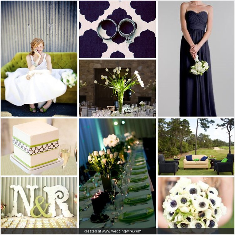I started looking at green weddings and fell in love with navy blue and