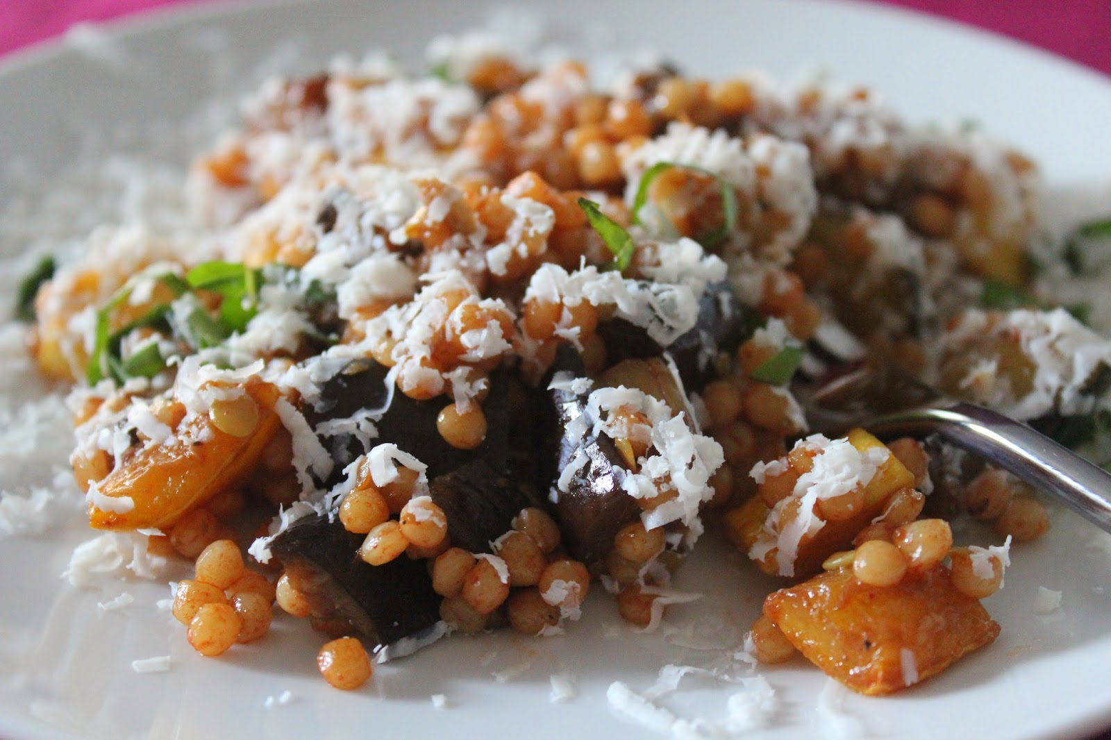 Israeli couscous with roasted squash and eggplant and ricotta salata