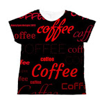Magic Coffee Fonts Women's Black All Over Print T-Shirt