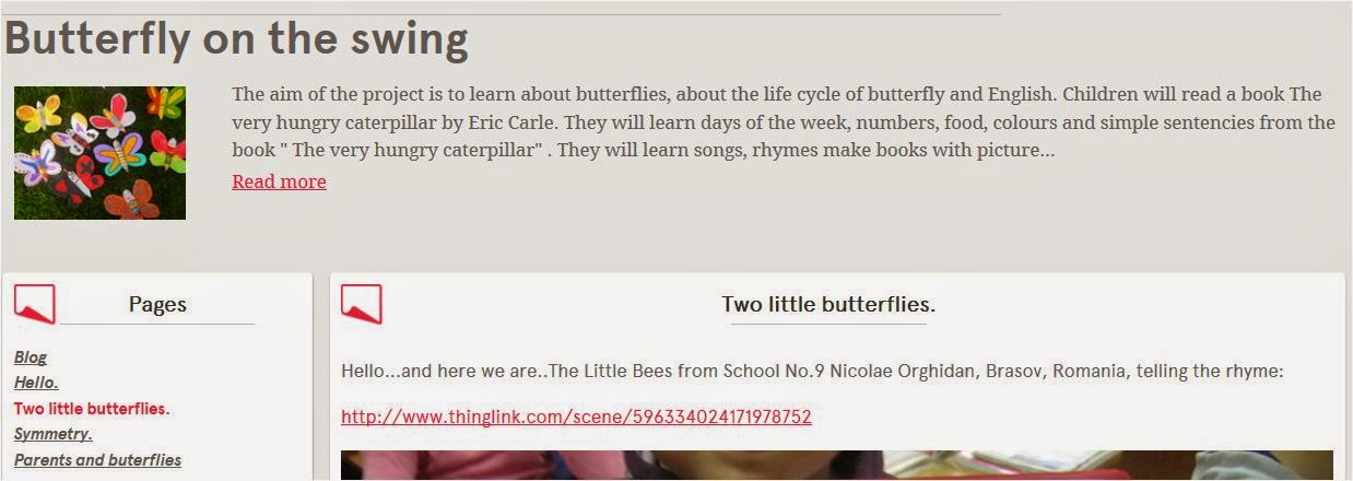 Etwinning project: Butterfly on the swing