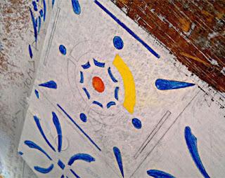 Detalhe pintura tampão de mesa da Casa de Tereza - 100x100 cms - Acrílica sobre madeira