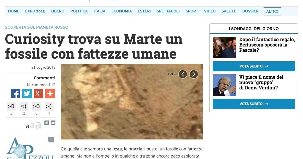 CURIOSITY TROVA SU MARTE UN FOSSILE MOLTO PARTICOLARE...