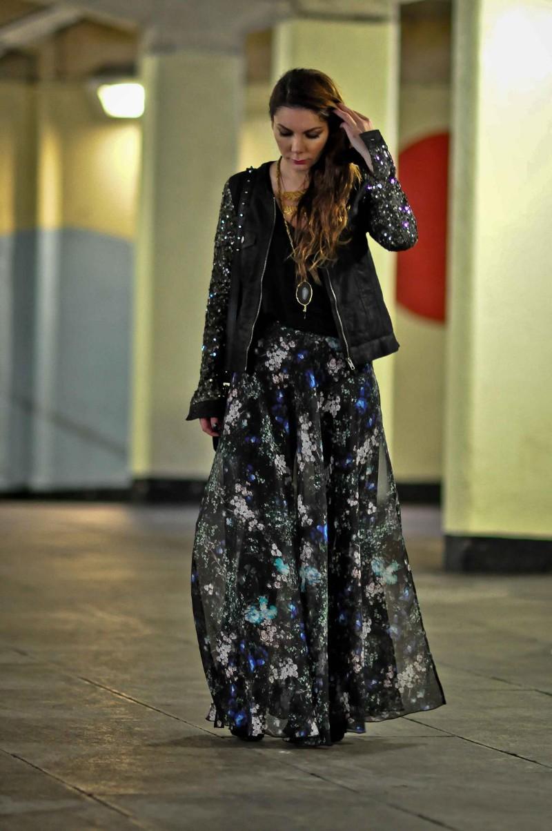 Simona Mar Floral Maxi Sequin Sleeves Messy Hair