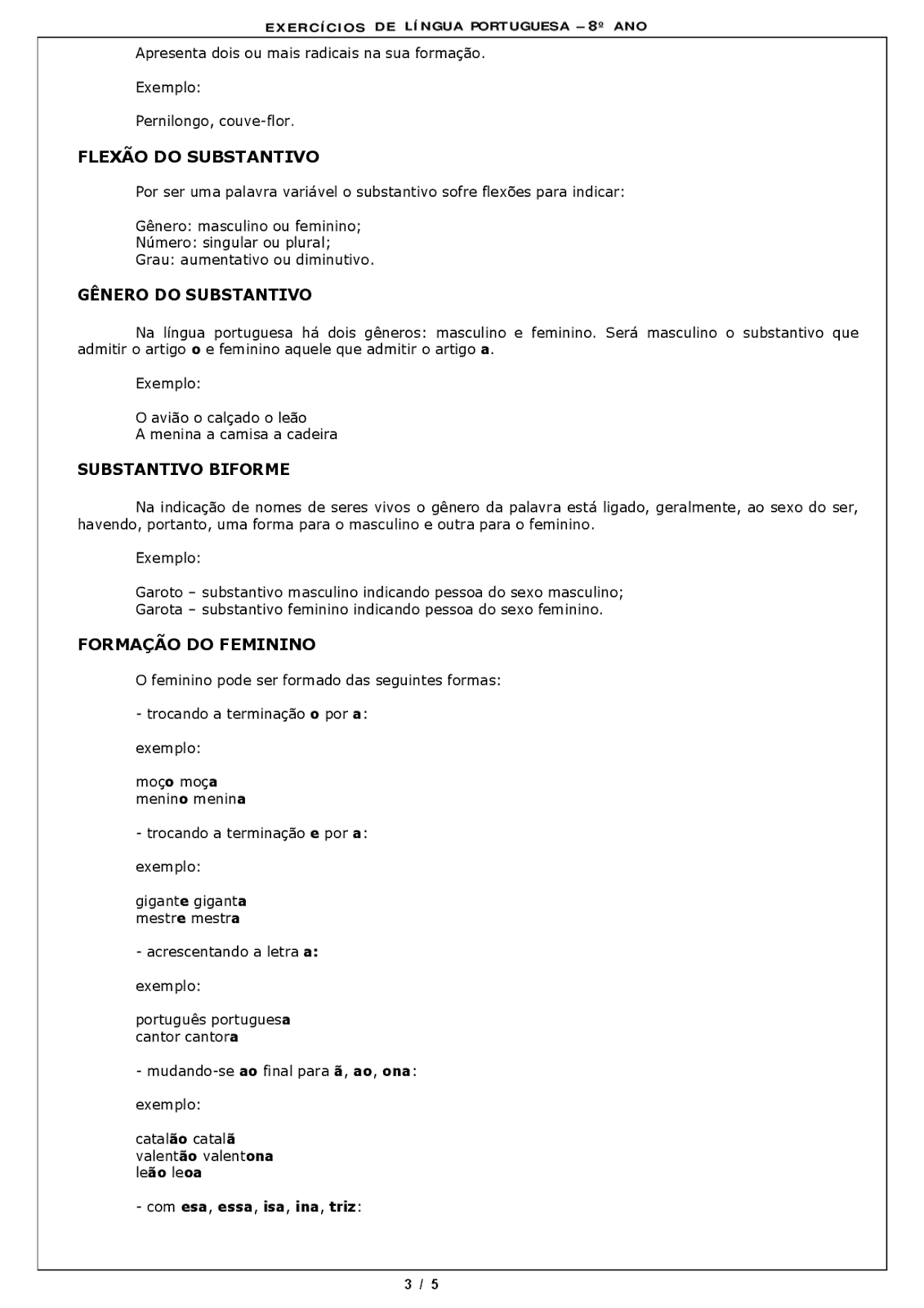Atividades L Ngua Portuguesa 8 Ano Exerc Cios Provas Avalia Es Iv  -> Atividades Com Substantivos Simples E Composto 4 Ano