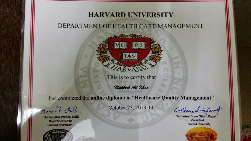 My BLOGS (MAHBOOB ALI KHAN): My Harvard Prestigious diploma in ...