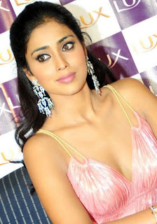 Shriya Saran in a Light Pink Gown promoting Lux Spicy Actress