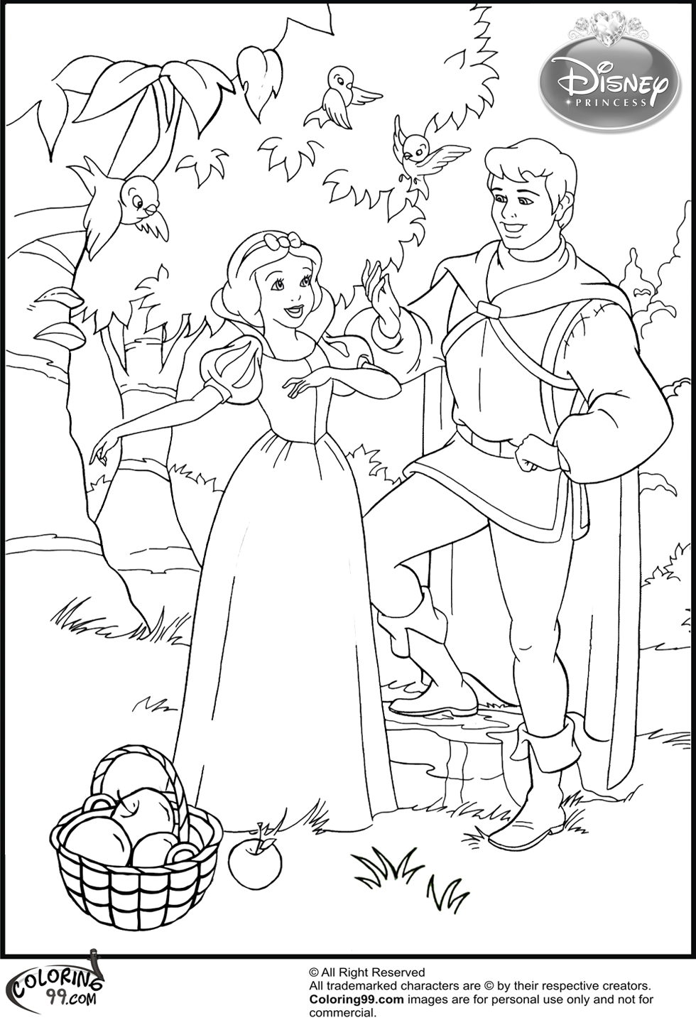 Snow white and the prince coloring pages team colors for Snow white coloring pages