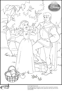 snow white and the prince picnic coloring pages