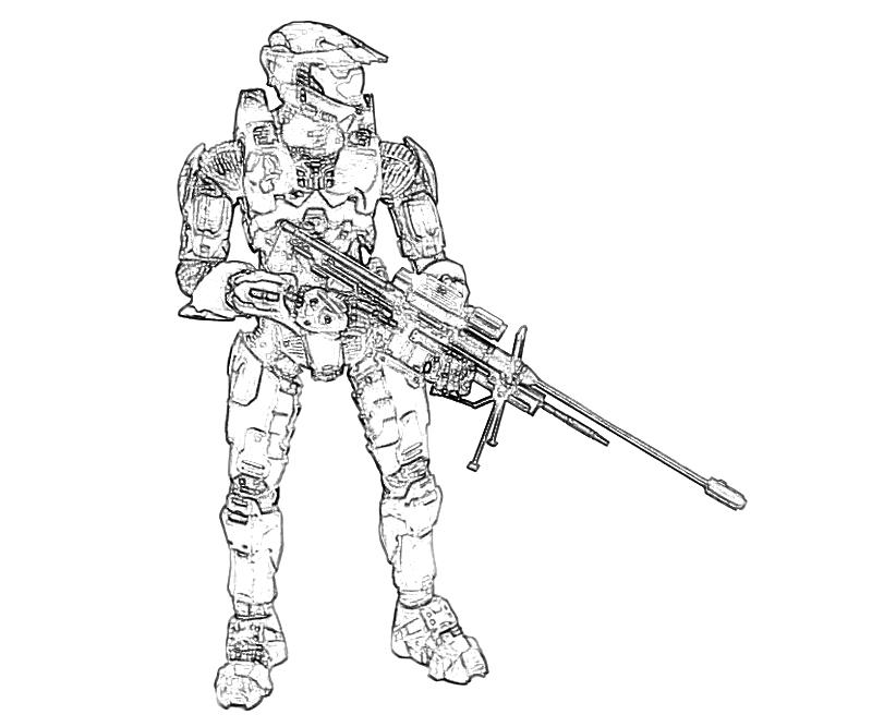 printable halo 4 john 117 mechine gun coloring pages