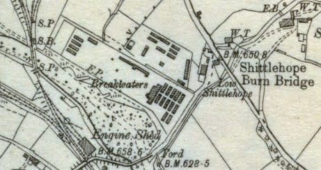 Map showing the huts of Stanhope prisoner of war camp, Durham OS sheet 24.SW (1923)