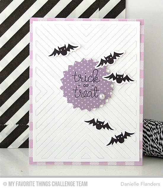 Trick or Treat Card by Danielle Flanders featuring the Frightfully Fun Halloween stamp set and Die-namics and the Four Way Chevron Cover-Up Die-namics #mftstamps