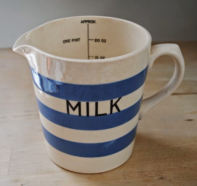 Vintage striped milk jug