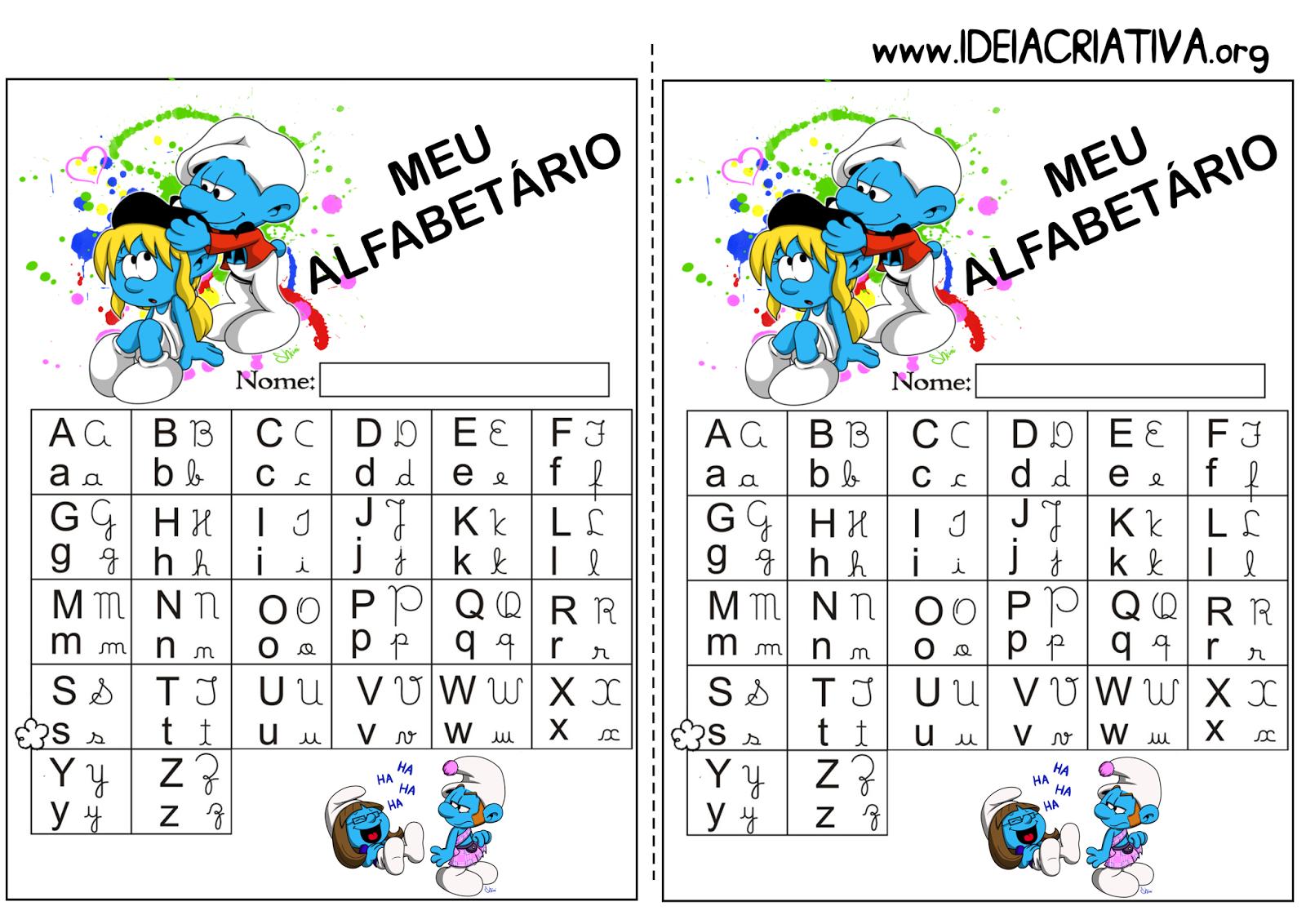 Alfabetário para imprimir Smurfs