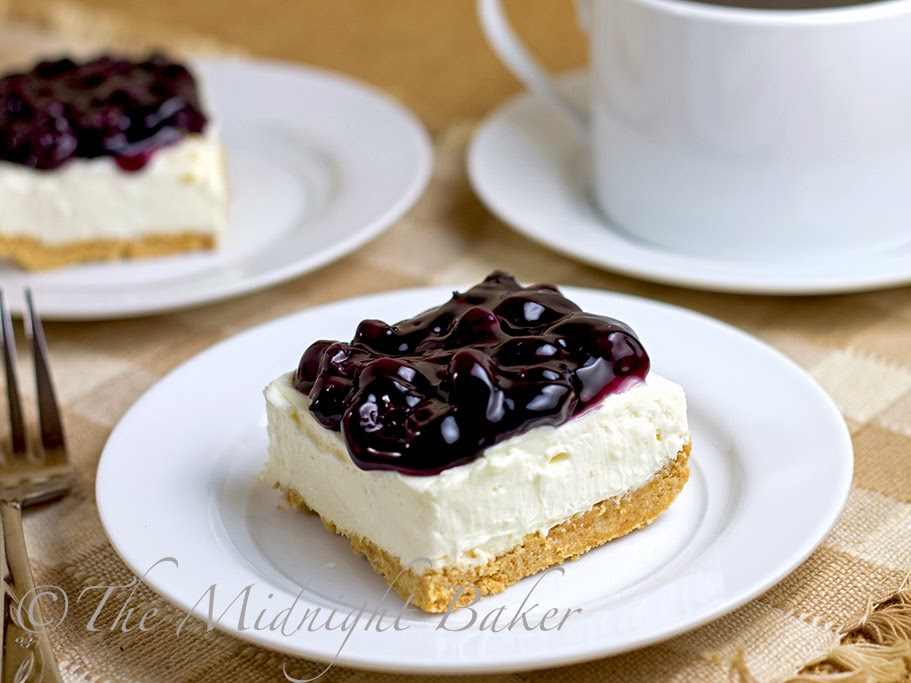 The Midnight Baker: No-Bake Blueberry Cheesecake Bars
