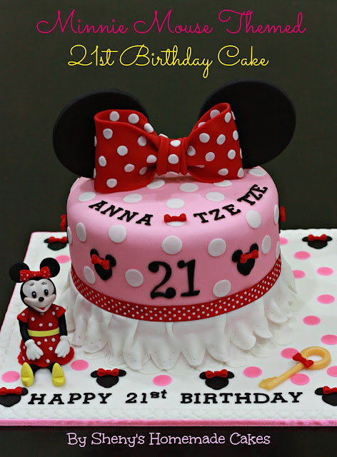 Sheny 39 s homemade treats minnie mouse themed 21st birthday for 21st birthday cake decoration