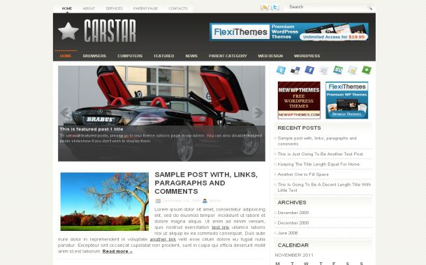 Free Chrome Cars Jquery Wordpress Theme Template