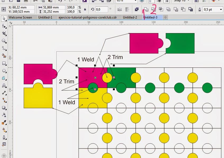 Mengatur Objek Puzzle dengan Weld dan Trim di CorelDraw