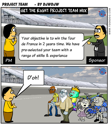 Establishing a good Project team with the right mix of skills, experience and structure