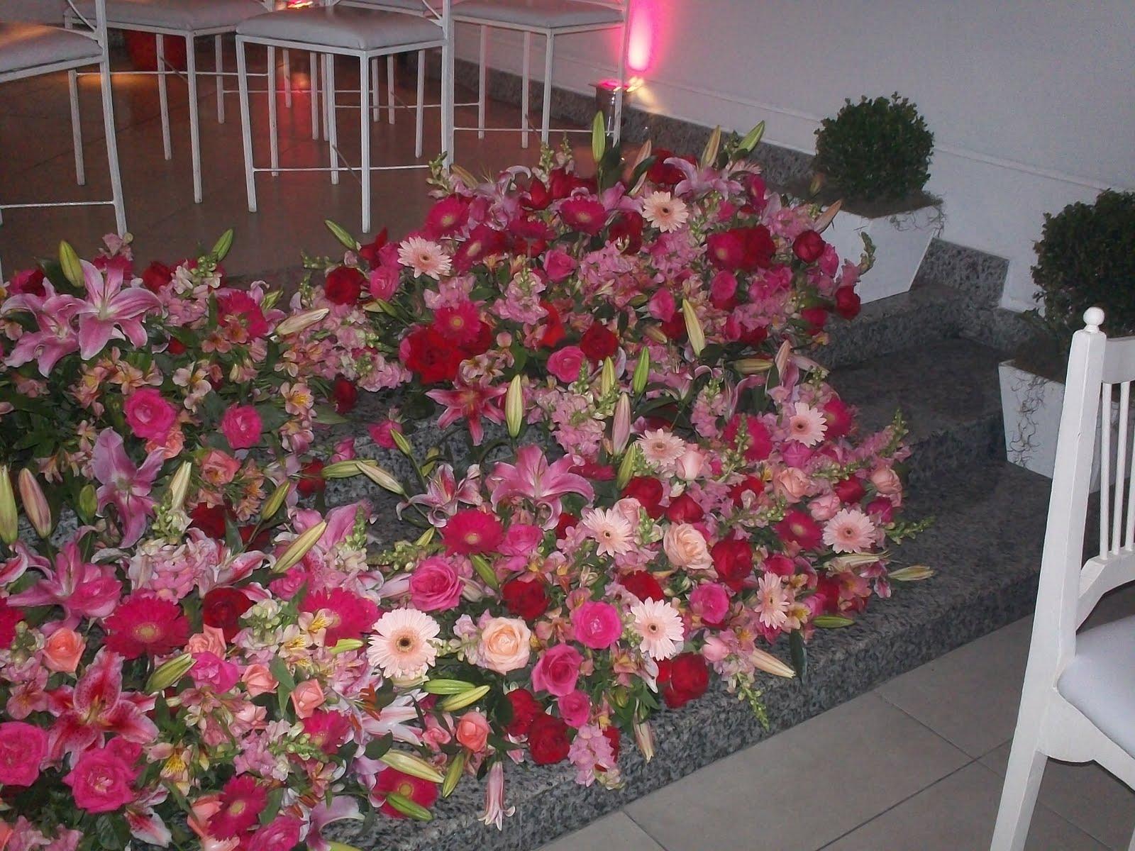 decoracao casamento vermelho e rosa casamento do meu filho, escada