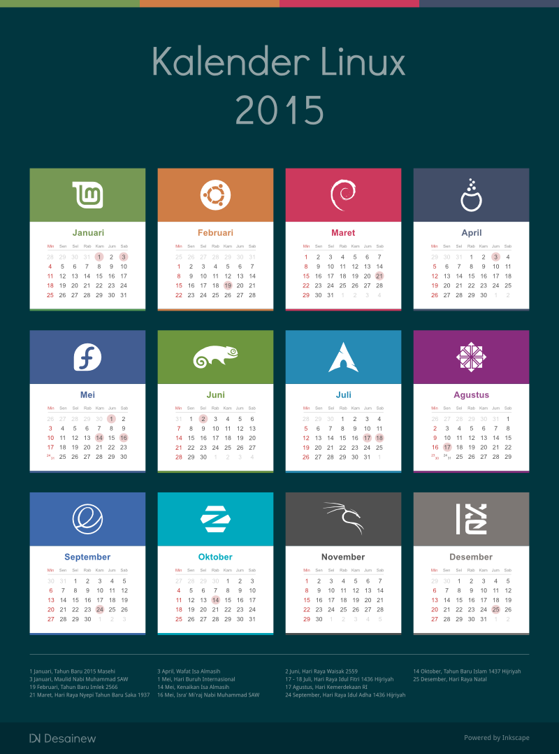 Download 2015 Calendar Vector Design Linux Edition