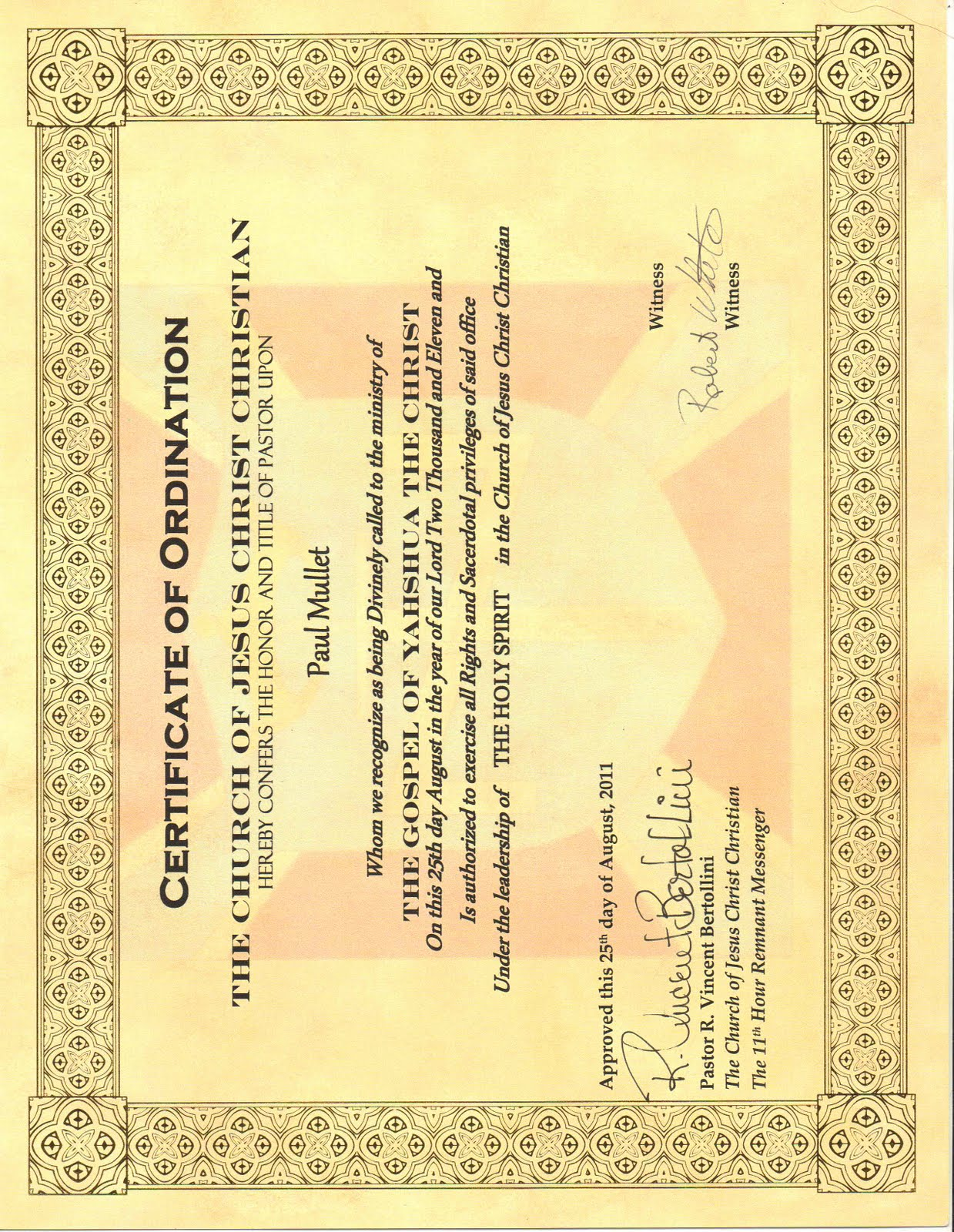 Ordination certificate crusaders for yahweh it is a great honor that i announce that i have been ordained into the church of jesus christ christian as a pastor i will do all i can for yahweh and my 1betcityfo Image collections