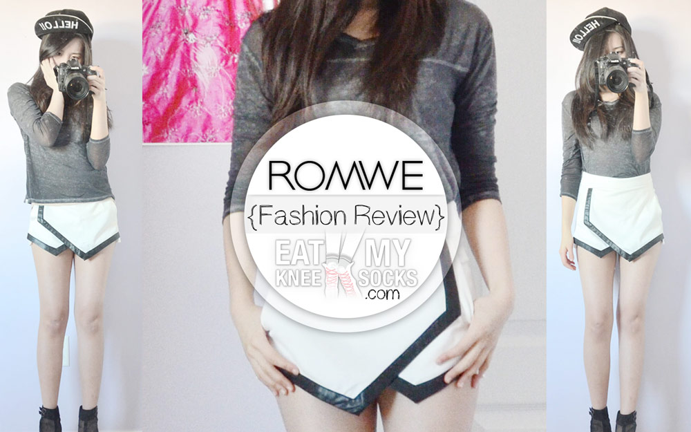 The EatMyKneeSocks intro photo for the Romwe asymmetrical leather-trim skort review.