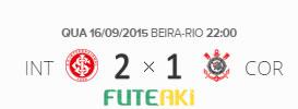O placar de Internacional 2x1 Corinthians pela 26ª rodada do Brasileirão 2015