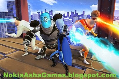Megamind Touchscreen Java game Download for Nokia Asha 305 306 308 309