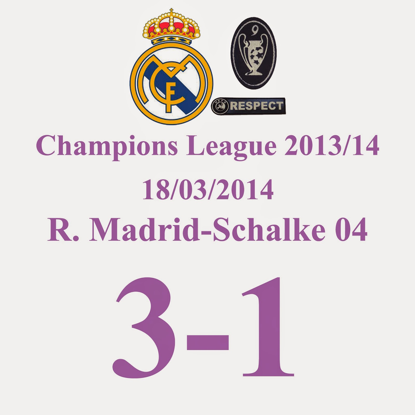 Real Madrid 3 - 1 Schalke - Resultado Global 9-2. Nuevo Record del Real Madrid la mayor ventaja en Octavos de Champions League de la historia.